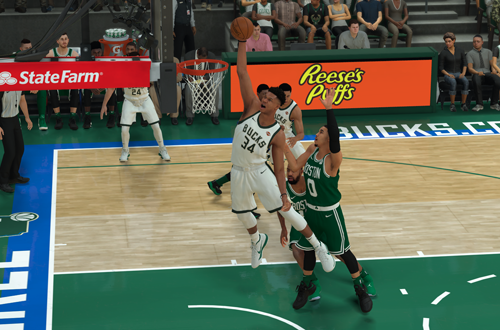 Giannis Antetokounmpo dunks in NBA 2K19