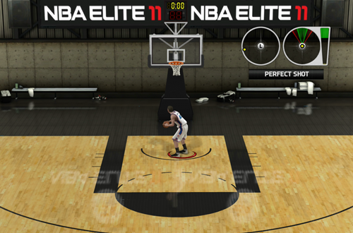Shooting around in the NBA Elite 11 Demo