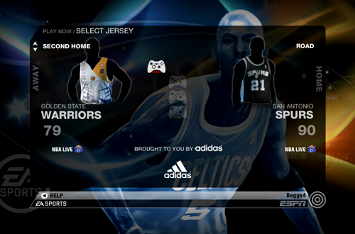 Jersey Selection Screen in NBA Live 09
