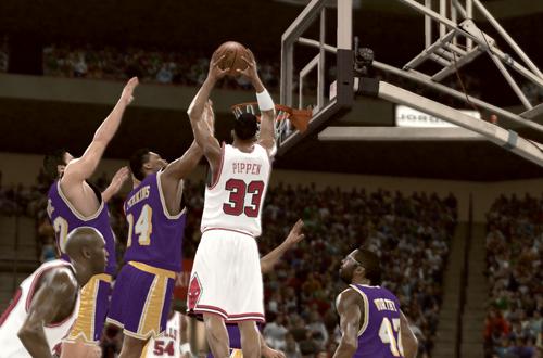 Scottie Pippen dunks in NBA 2K11
