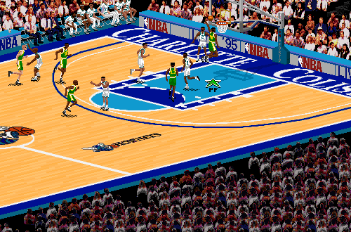 Shawn Kemp dunks in NBA Live 95