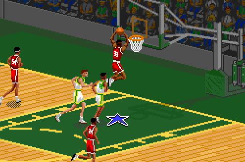 Scottie Pippen dunks in NBA Live 95 SNES