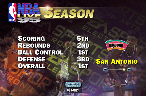 Season Mode in NBA Live 95 PC