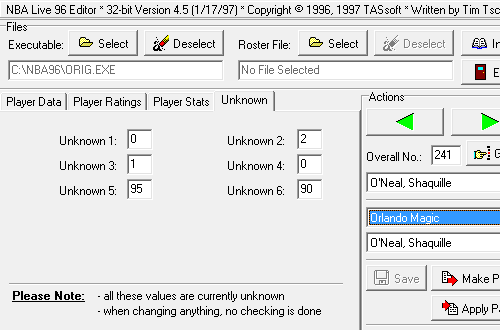 Unsolved Modding Mysteries:: Unknown Values in NBA Live 96