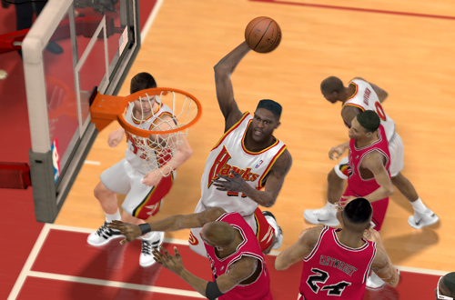 Dominique Wilkins dunks on Michael Jordan (NBA 2K12)
