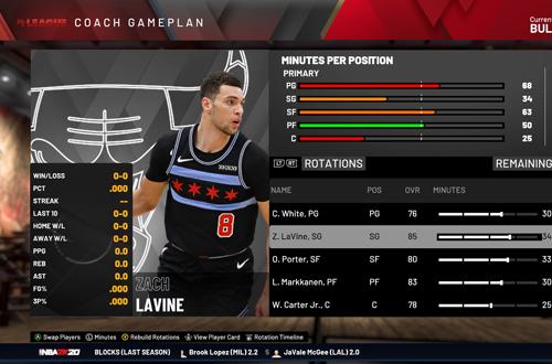 Coach Gameplan in MyLEAGUE (NBA 2K20)