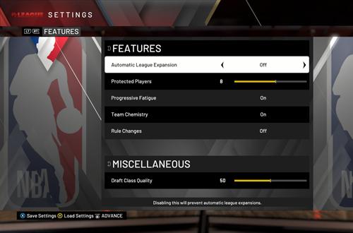 MyLEAGUE Settings in NBA 2K20