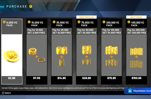 Purchasing VC in NBA 2K20