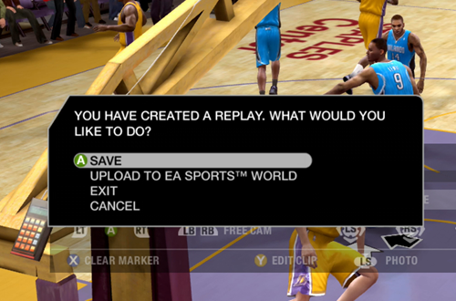 Upload to EA Sports World Option in NBA Live 09