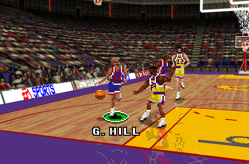 Grant Hill drives in NBA Live 96