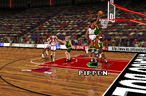 Scottie Pippen with the layup in NBA Live 96