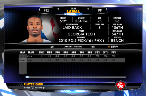 Gani Lawal appeared in one NBA games and four video games