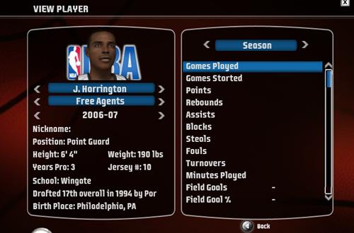 Junior Harrington in NBA Live 08
