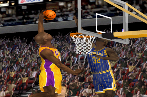 Shaq dunks in NBA Live 2000