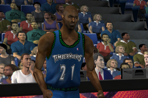 Kevin Garnett reacts in NBA Live 2001