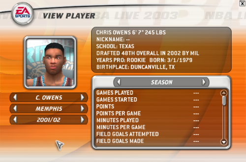 Chris Owens in NBA Live 2003