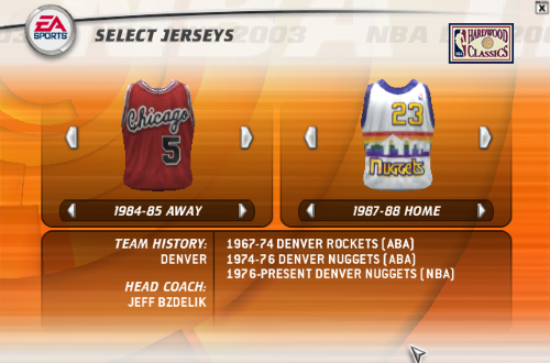 Selecting Throwback Jerseys in NBA Live 2003