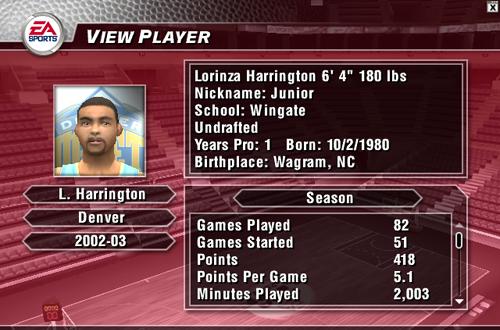 Junior Harrington in NBA Live 2004