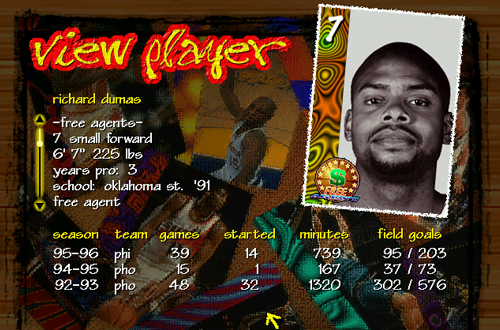 Richard Dumas Player Card in NBA Live 97