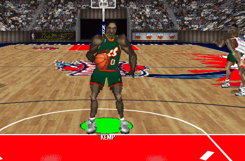 Shawn Kemp at the free throw line (NBA Live 97)