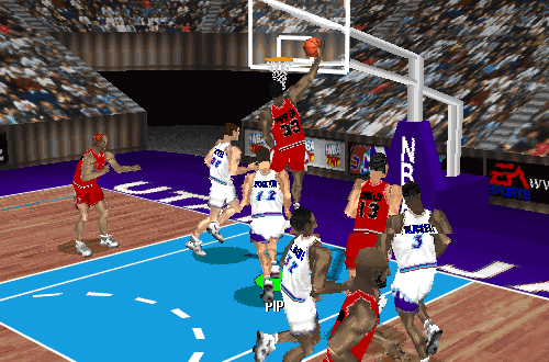 Scottie Pippen dunks in NBA Live 97