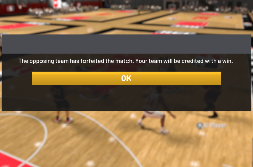 Forfeited Game in NBA 2K20