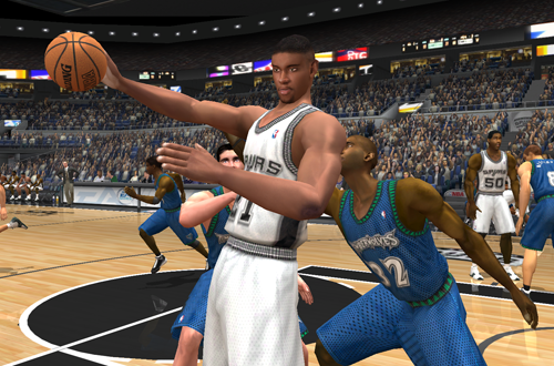 Tim Duncan posts up in NBA Live 2003