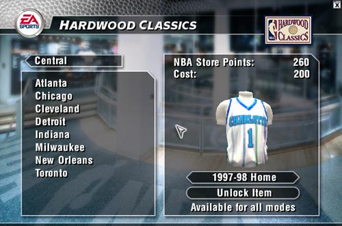 Unlocking Jerseys in NBA Live 2004