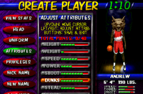 Create Player in NBA Hangtime