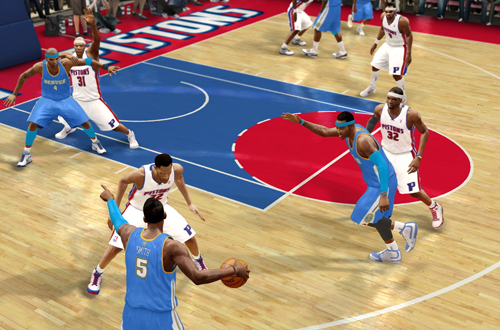 Nuggets vs Pistons in NBA Live 10