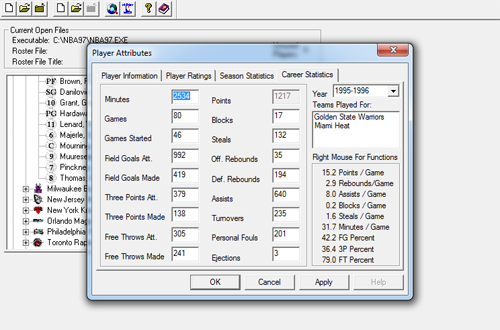 Editing Career Stats in NBA Live 97