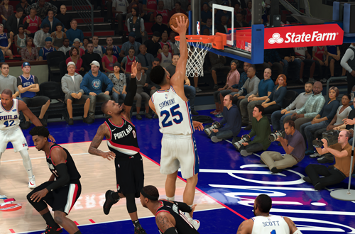 Ben Simmons dunks in NBA 2K20