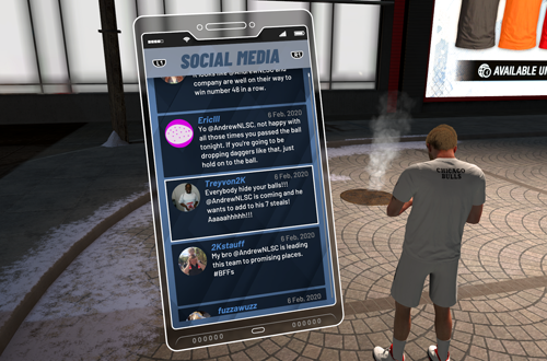Fake Twitter in MyCAREER (NBA 2K20)