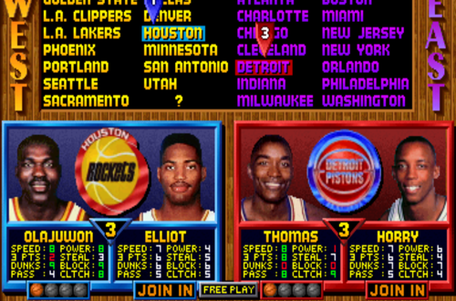 Selecting Rockets vs Pistons (NBA Jam TE Arcade)