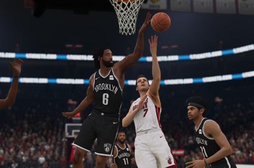 DeAndre Jordan blocks a shot (NBA Live 19)