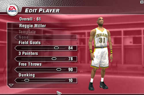 Editing Reggie Miller in NBA Live 2004