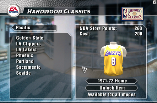 Unlockable Lakers Jersey in NBA Live 2004