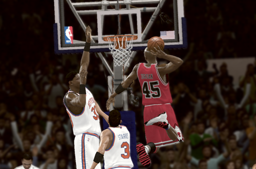 Michael Jordan dunks on the 1995 Knicks (NBA 2K11)