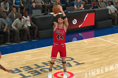 Shooting a three-pointer in MyCAREER (NBA 2K20)