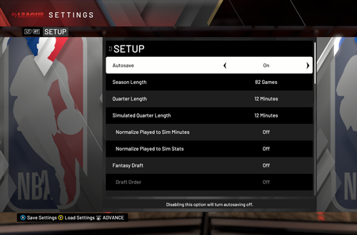 Setting up MyLEAGUE (NBA 2K20)
