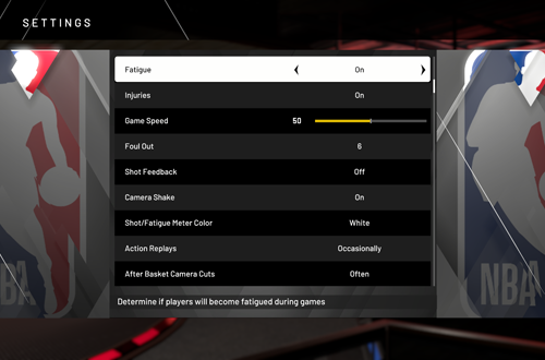 Game Settings in NBA 2K20