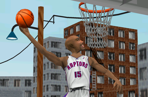 Vince Carter practices in Fox Sports NBA Basketball 2000