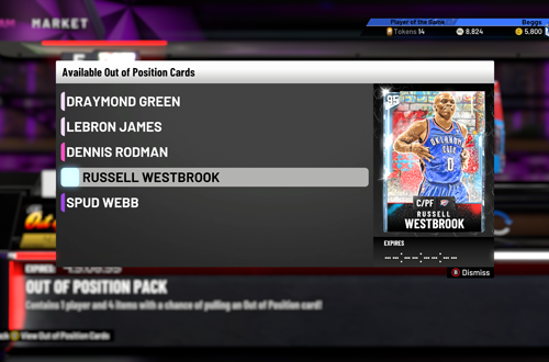 Out of Position Cards in NBA 2K20 MyTEAM