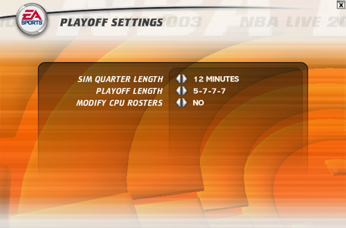 Playoffs Settings in NBA Live 2003 PC