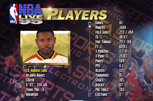 Andrew Lang in NBA Live 95