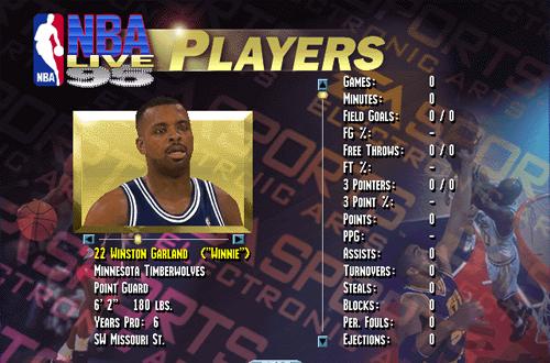 Winston Garland in NBA Live 95