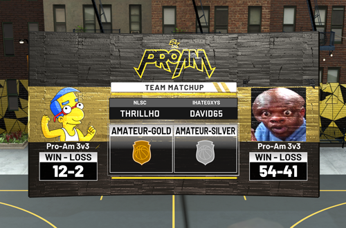 Pre-Game Matchup Screen in 3v3 Pro-Am (NBA 2K20)