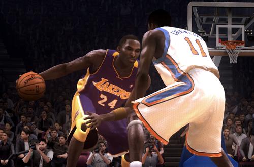 Kobe Bryant dribbling in NBA Live 08