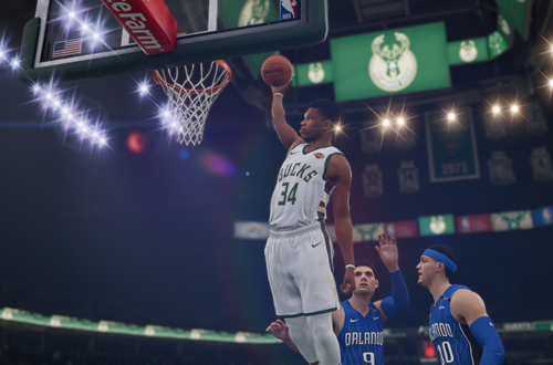 Giannis Antetokounmpo dunks in NBA Live 19