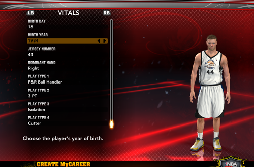 Creating a new player in MyCAREER (NBA 2K13)